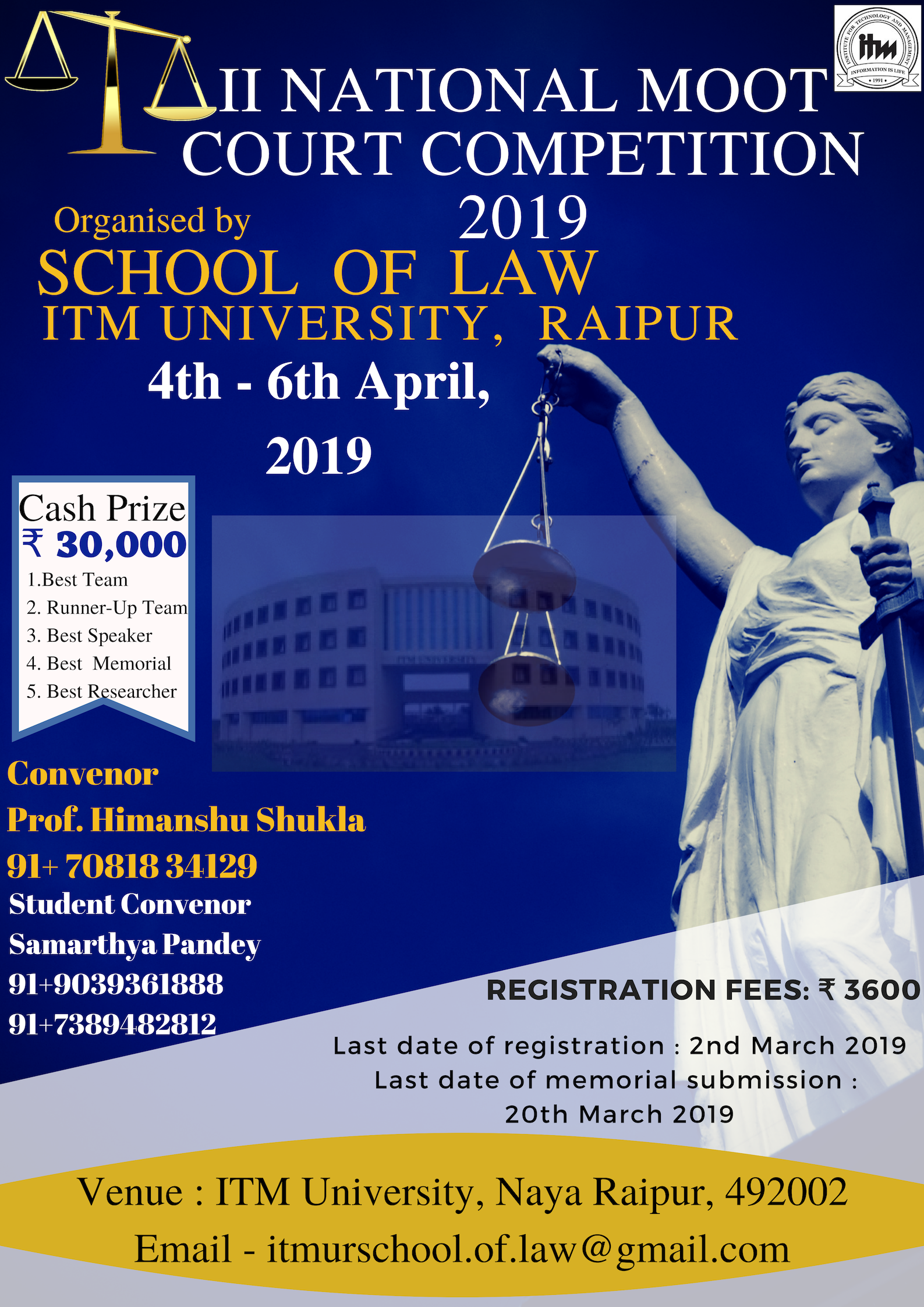 II NATIONAL MOOT COURT COMPETITION, 2019 - ITM University