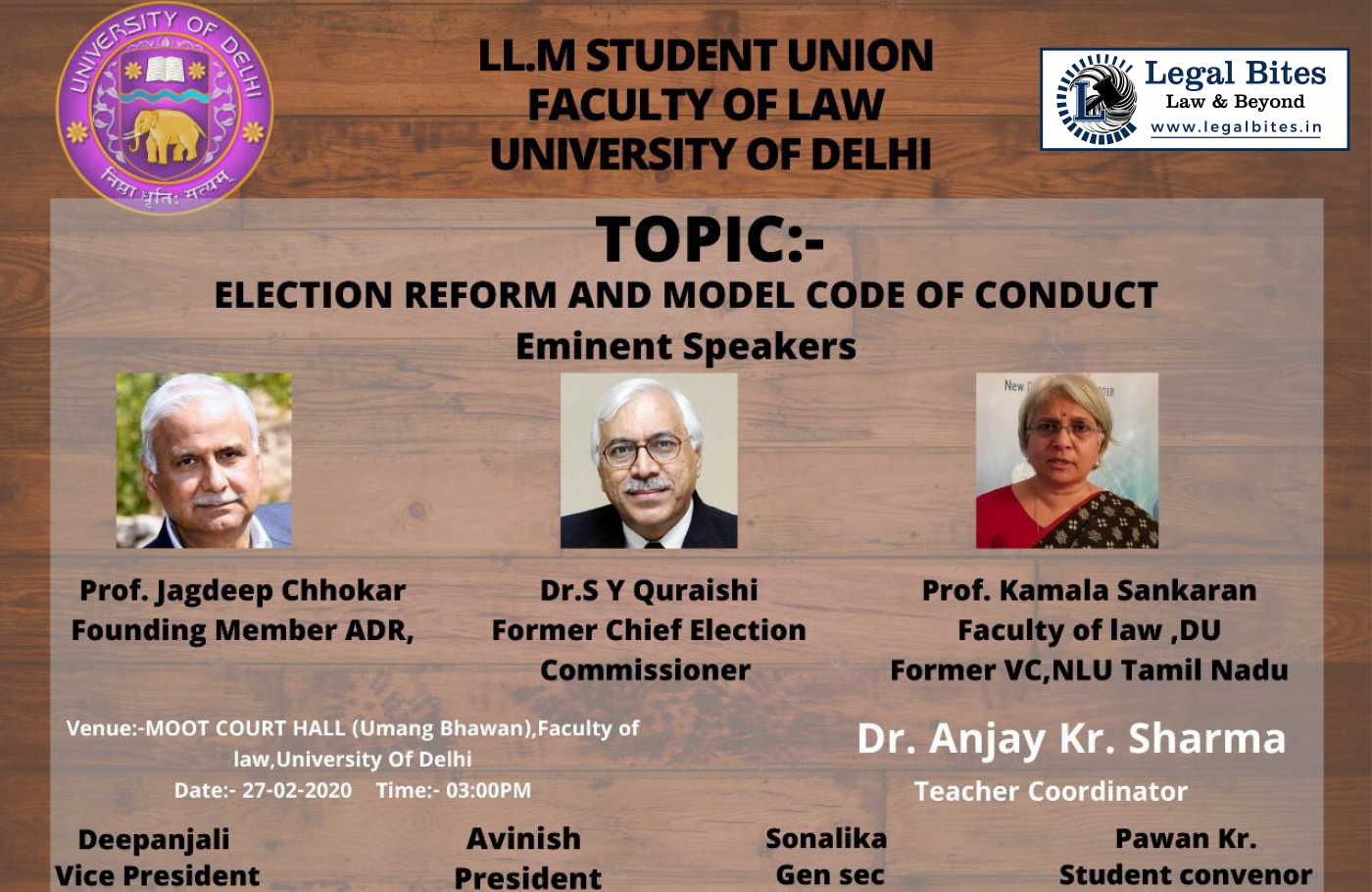 Lecture on Election Reform and Model Code of Conduct at Faculty of Law