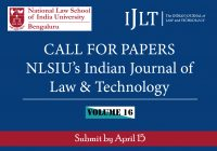 Call for Papers: NLSIU's Indian Journal of Law & Technology Vol. 16