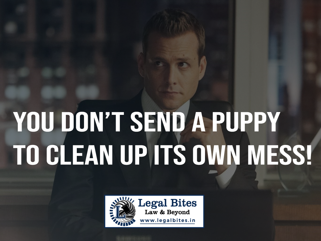 You don't send a puppy to clean up its own mess!