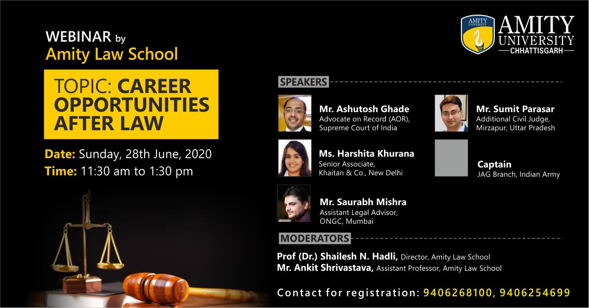 Webinar on Career Opportunities after Law