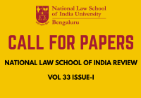 Call for Papers National Law School of India Review Vol 33 Issue 1