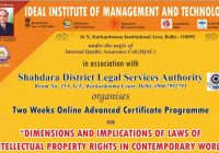 Advanced Certificate Course on IPR by IIMT GGSIPU