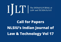 Call for Papers: NLSIU's Indian Journal of Law & Technology Vol 17