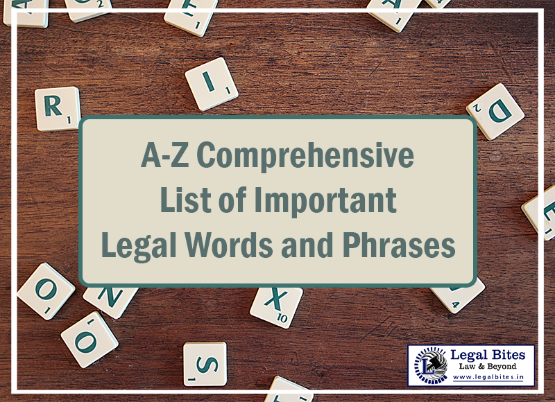 List of Important Legal Words and Phrases