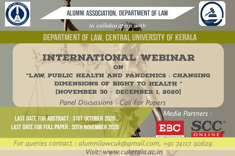 Webinar: Law, Public Health and Pandemics - Changing Dimensions of Right to Health| Central University, Kerala