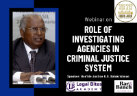 Webinar: Role of Investigating Agencies in Criminal Justice System | Iuris Jura