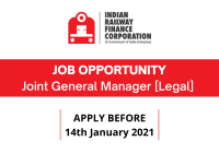 JOB: Joint General Manager [Legal] at IRFC-Indian Railway Finance Corporation