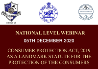 Webinar NLU Odisha: Consumer Protection Act, 2019 as a Landmark Statute For the Protection of the Consumers