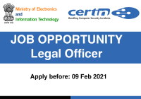 JOB: Legal Officer at ICERT   Ministry of Electronics & Information Technology