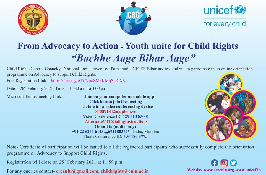 Session: From Advocacy to Action - Youth unite for Child Rights (Bachhe Aage Bihar Aage) | Child Rights Centre, CNLU Patna