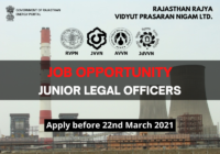 JOB: Junior Legal Officers | Rajasthan Rajya Vidyut Prasaran Nigam Ltd.
