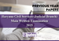 Haryana Judicial Services Mains 2015 Previous Year Paper