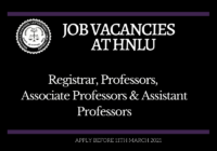 JOB: Registrar, Professors, Associate Professors and Assistant Professors | HNLU - Hidayatullah National Law University