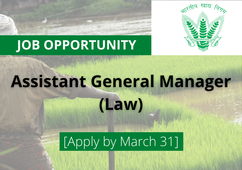 JOB: Assistant General Manager(Law) | Food Corporation of India