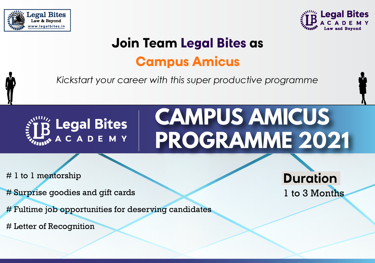 Call for Applications: Legal Bites Campus Amicus Programme 2021
