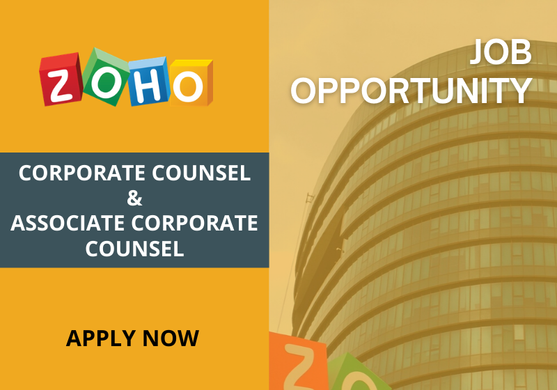 JOB: Corporate Counsel & Associate Corporate Counsel | Zoho Corporation