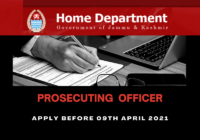 JOB: JKPSC Prosecuting Officer | Home Department Jammu & Kashmir