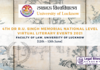 4th Dr R.U. Singh Memorial National Level Virtual Literary Events 2021   Faculty of Law